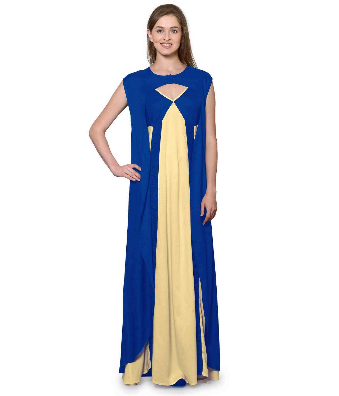 Sleeveless Maxi Nighty With Half Stylish Robe in Turquoise: Gold
