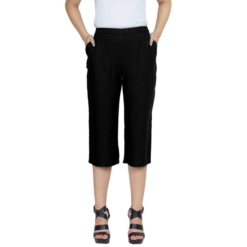 Slim Fit Capri Pant  in Black