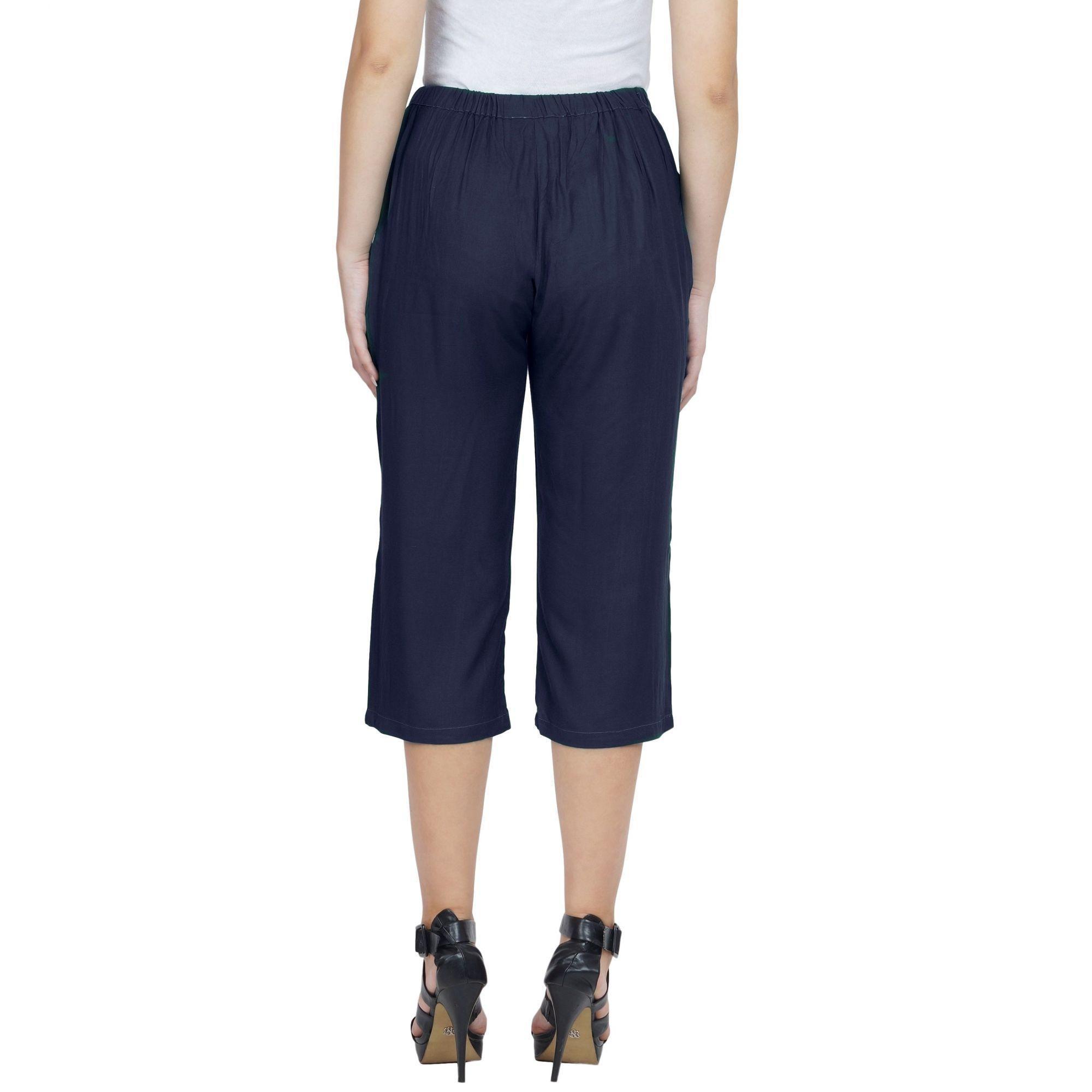Slim Fit Capri Pant  in Dark Blue