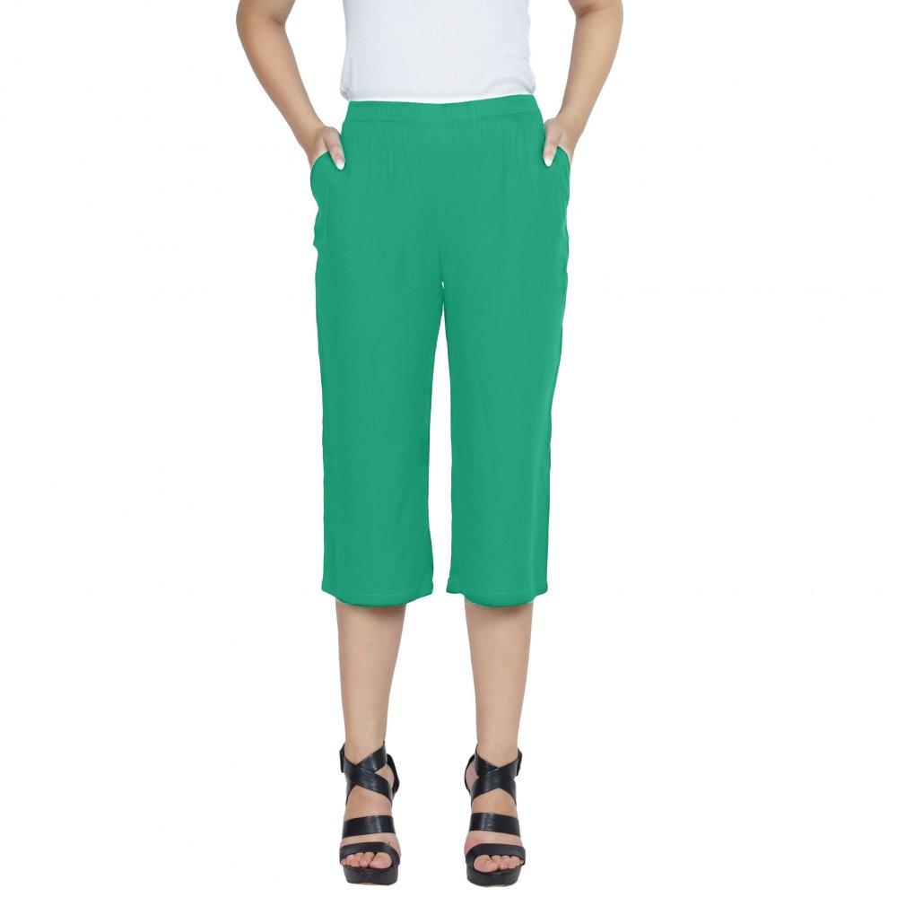 Slim Fit Capri Pant  in Teal Green
