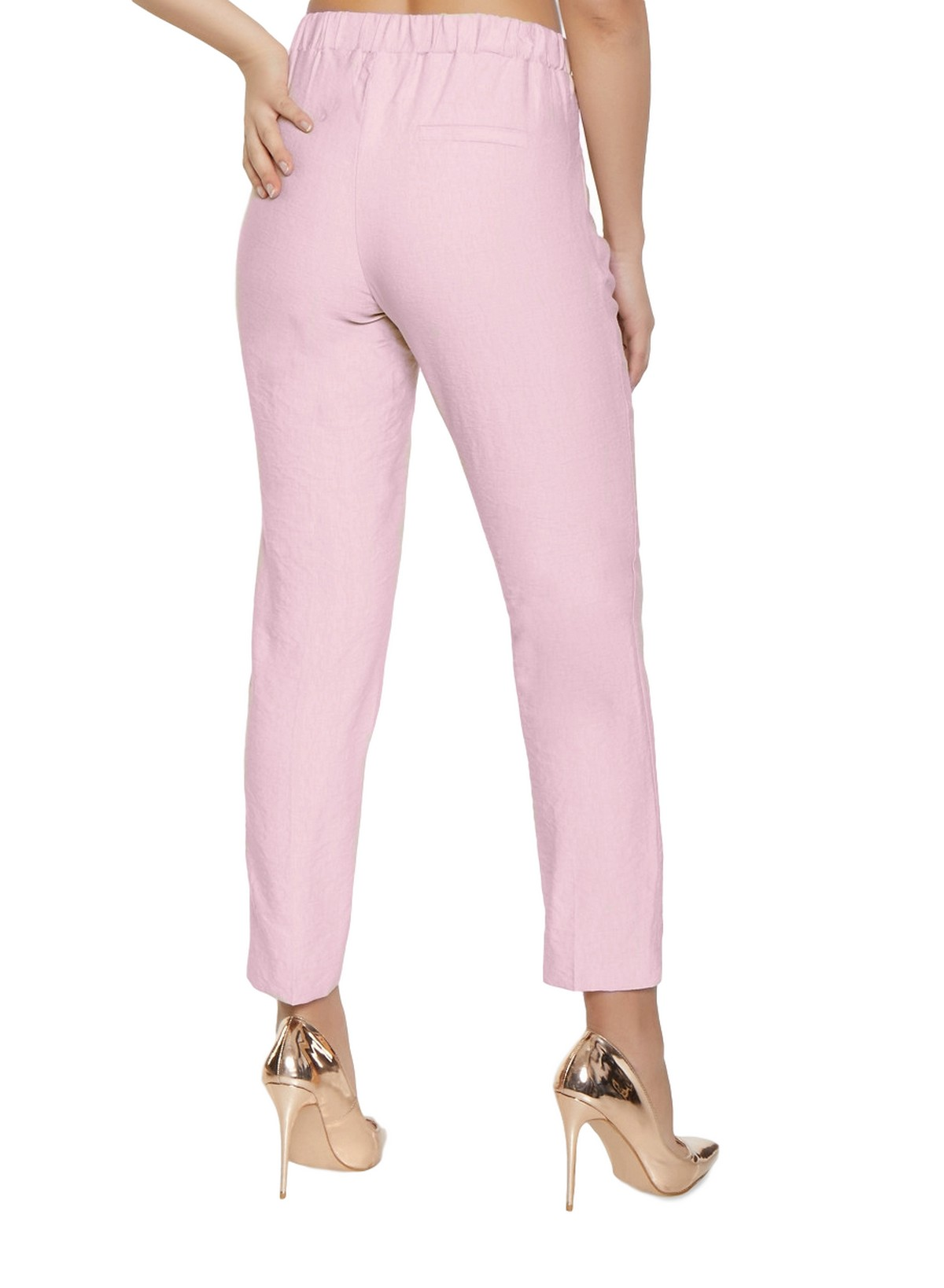 Slim Fit Cigarette Trousers in Baby Pink