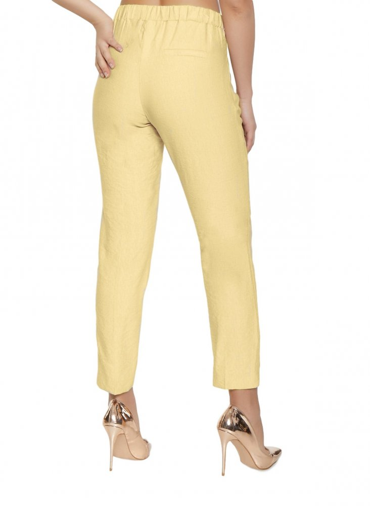 Slim Fit Cigarette Trousers in Gold