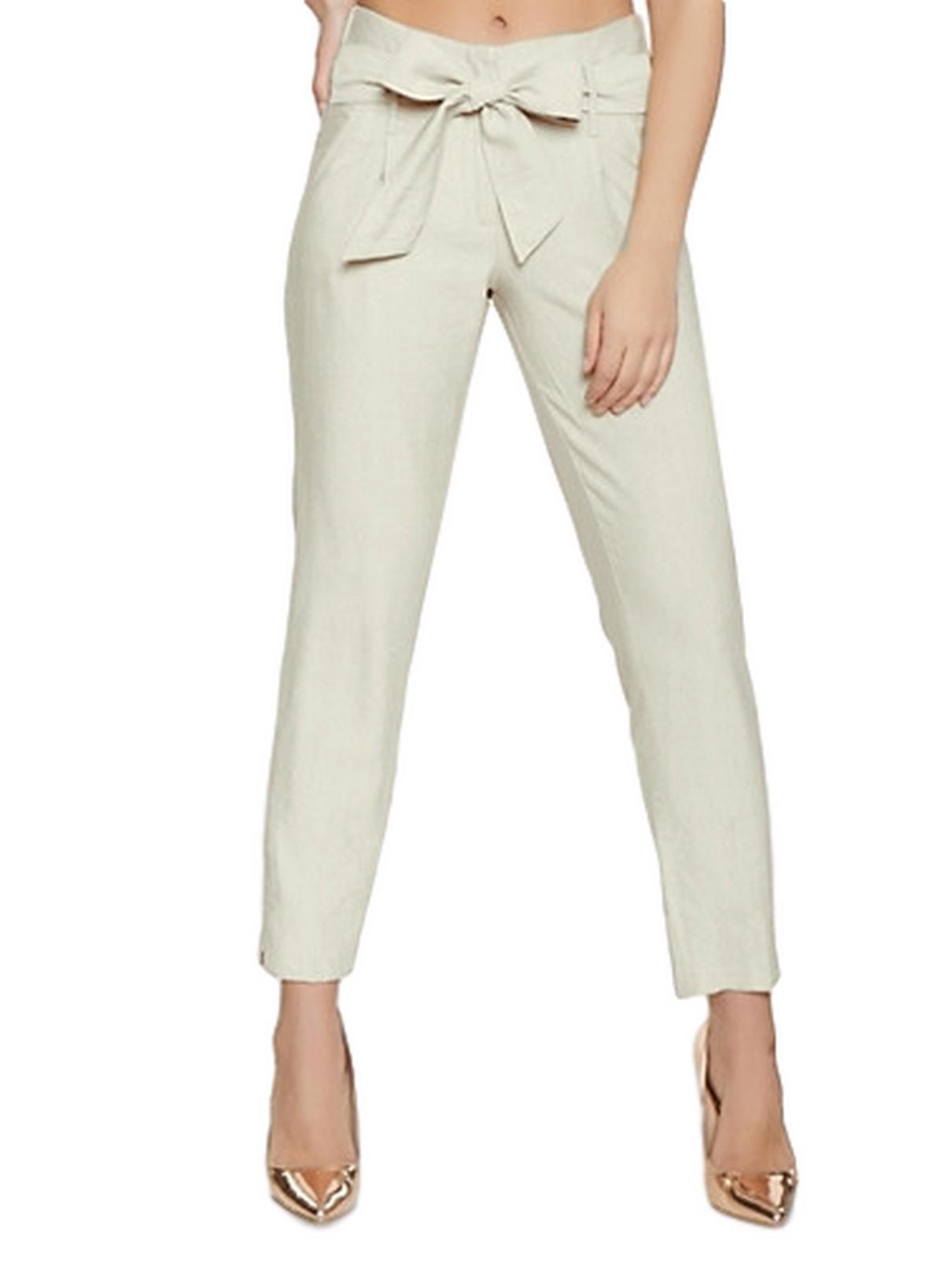 Slim Fit Cigarette Trousers in Off-White