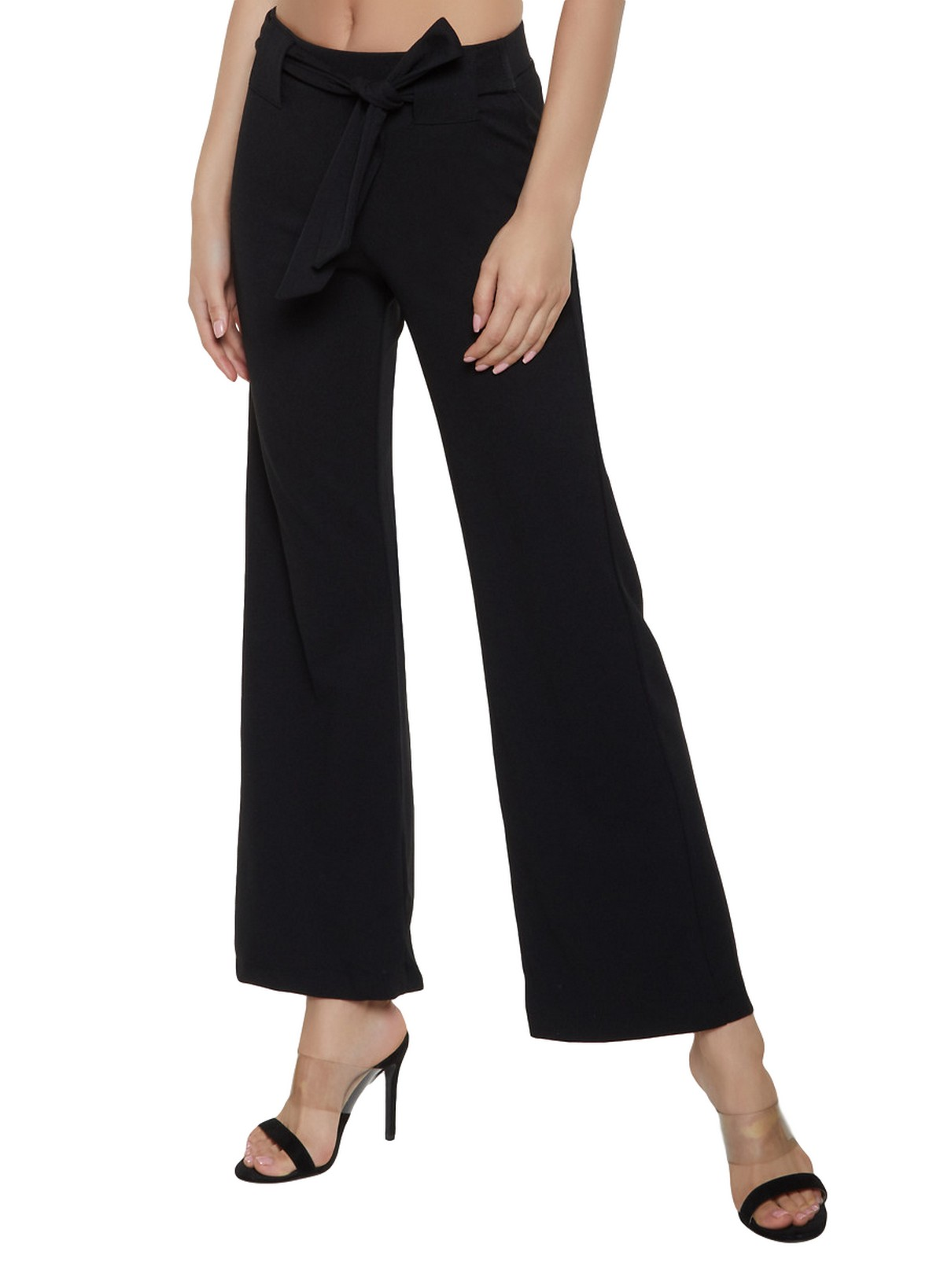 Slim Fit Culottes Trousers in Black