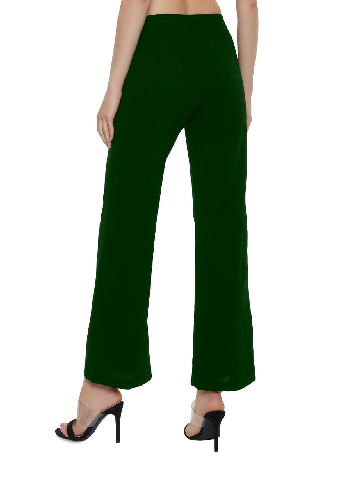 Slim Fit Culottes Trousers in Bottle Green