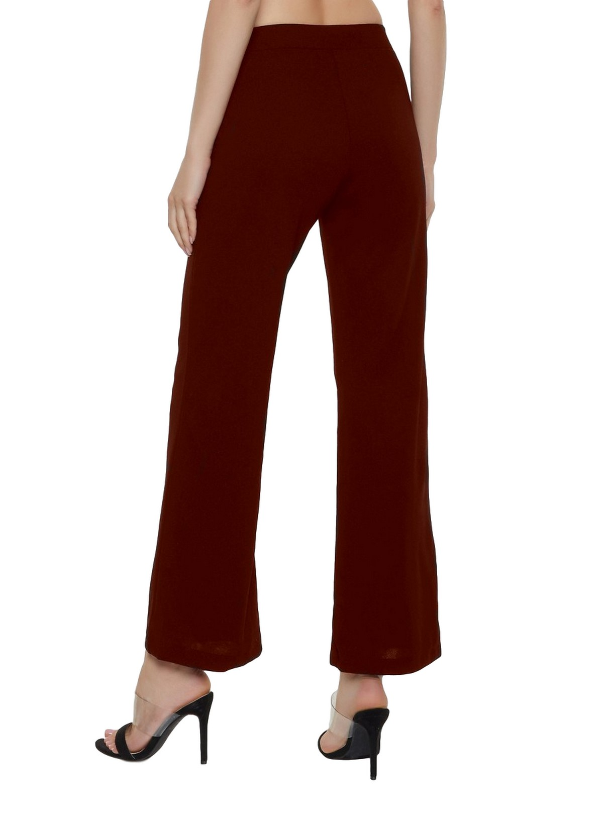 Slim Fit Culottes Trousers in Maroon