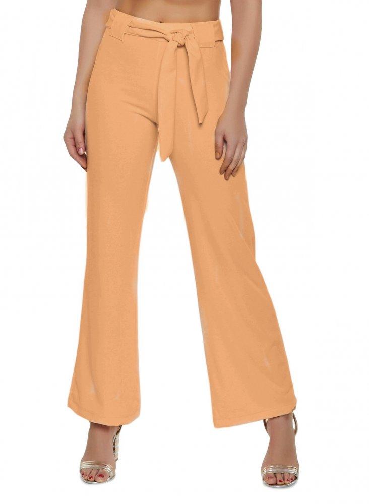 Slim Fit Culottes Trousers in Peach
