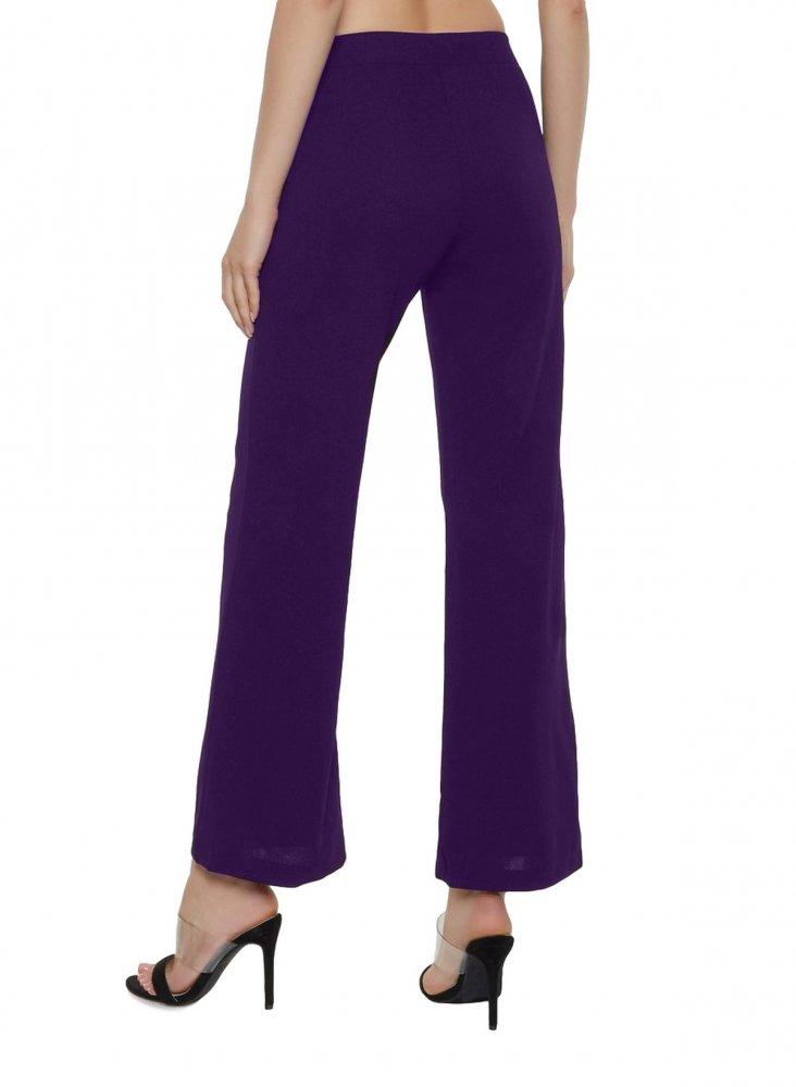 Slim Fit Culottes Trousers in Purple