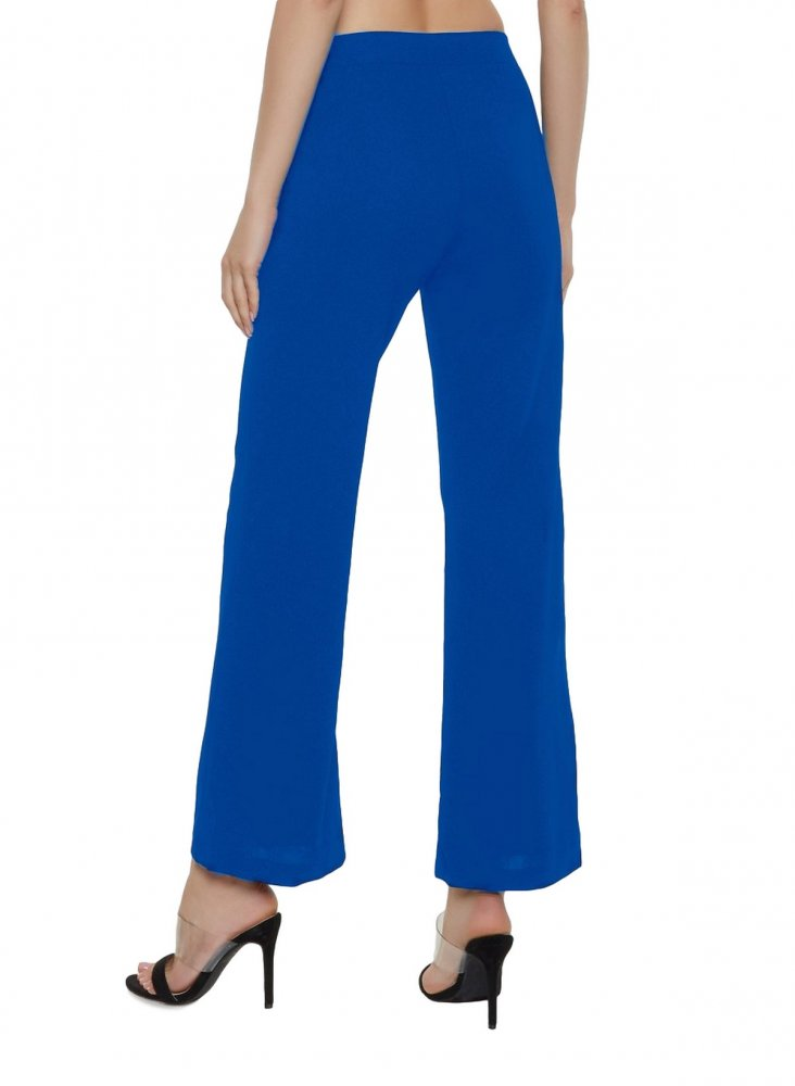 Slim Fit Culottes Trousers in Turquoise Blue