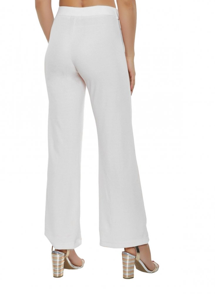 Slim Fit Culottes Trousers in White