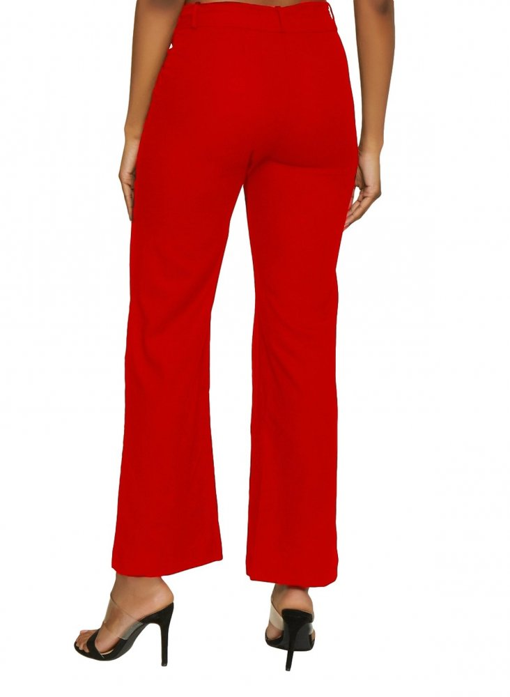 Slim Fit Tights Trousers in Red
