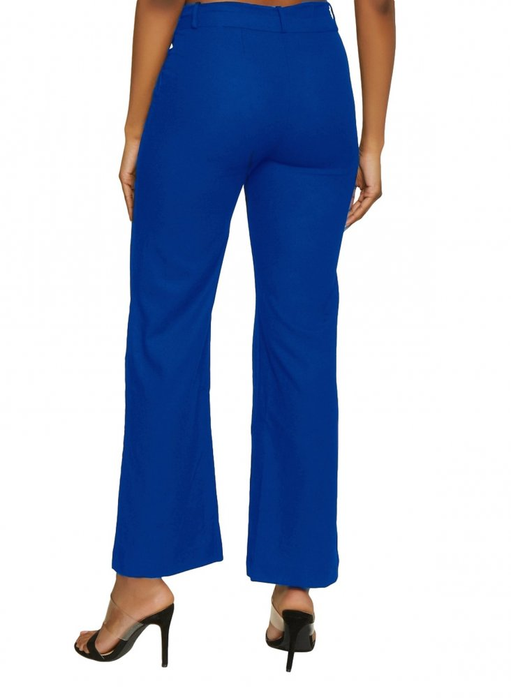 Slim Fit Tights Trousers in Turquoise Blue