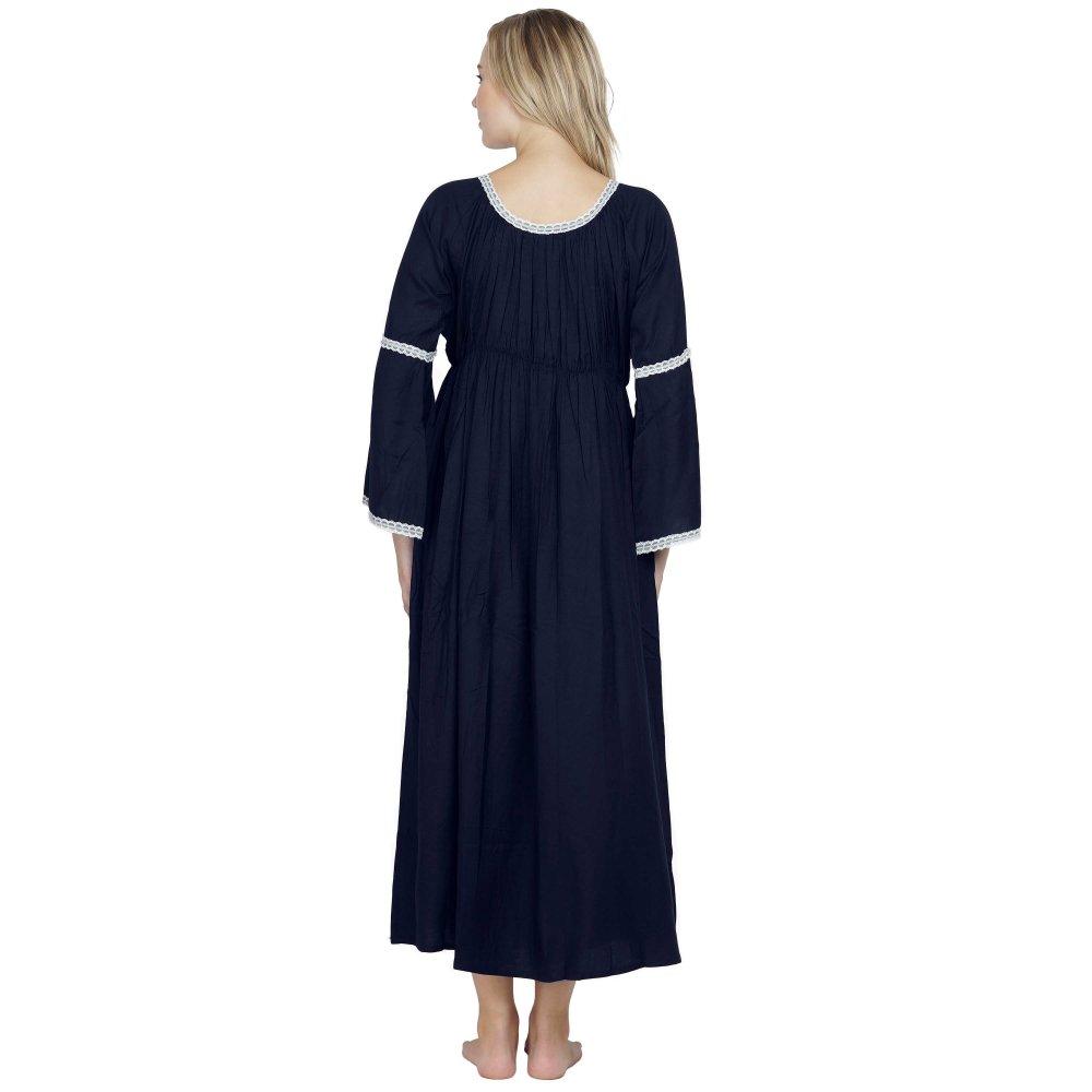 Smock Lace Embellished Maxi Dress cum Nightdress in Dark Blue