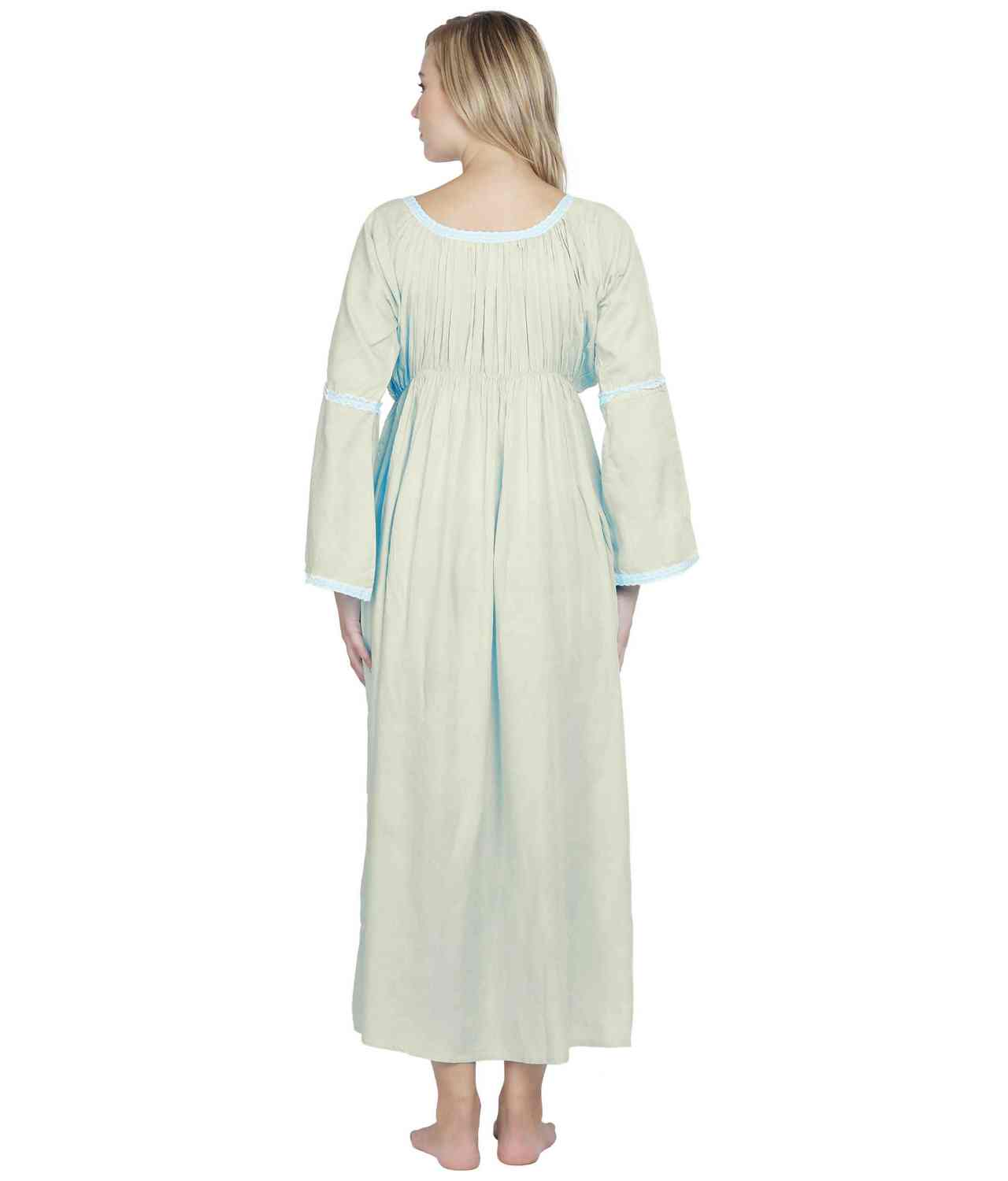 Smock Lace Embellished Maxi Dress cum Nightdress in Off-White