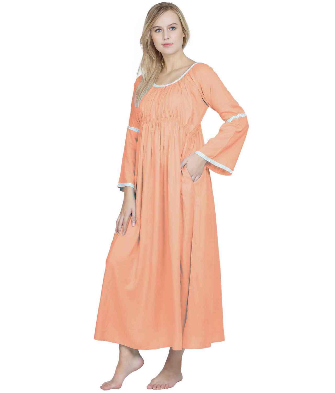 Smock Lace Embellished Maxi Dress cum Nightdress in Peach