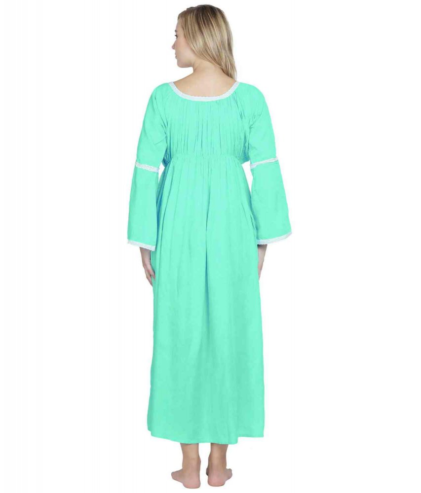 Smock Lace Embellished Maxi Dress cum Nightdress in Teal Green