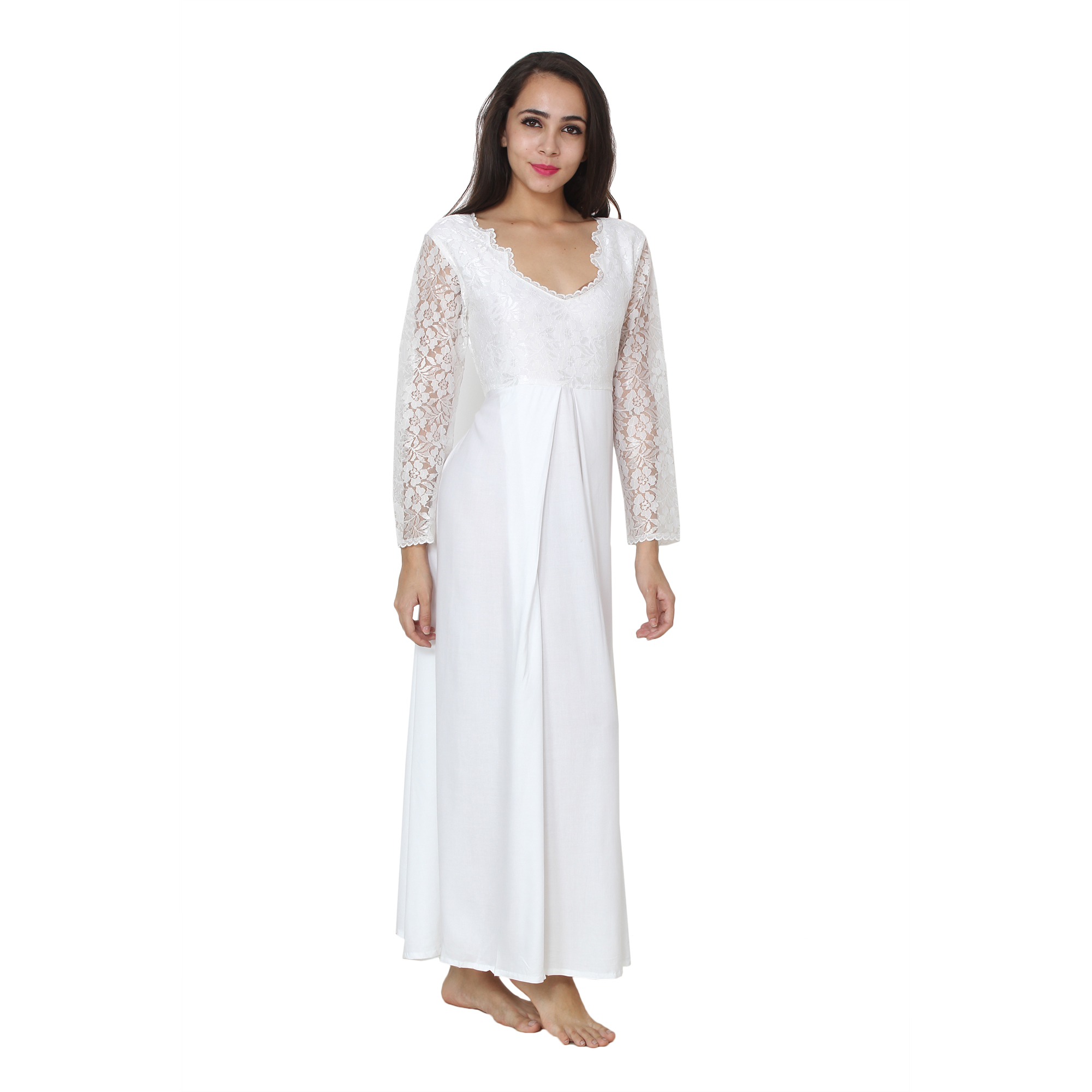 Smock Style Lace Blouson Maxi Nightdress cum Dress in White