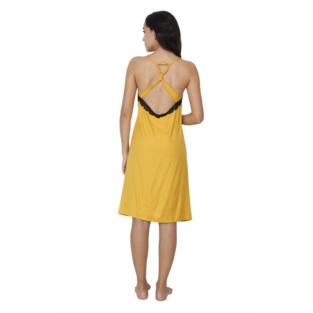 Spaghetti Strap Lace Work Knee Length Dress in Mustard