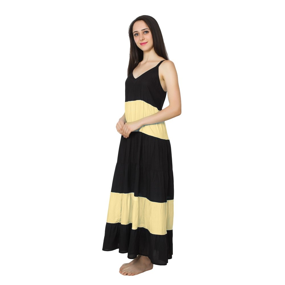 Spaghetti Strap Pleated Frilled Nighty Dress Gown in Black:Gold