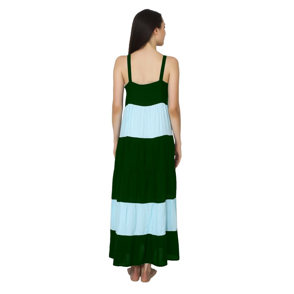 Spaghetti Strap Pleated Frilled Nighty Dress Gown in Bottle Green:Light Blue