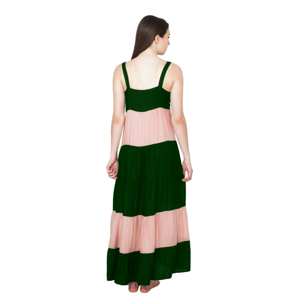 Spaghetti Strap Pleated Frilled Nighty Dress Gown in Bottle Green:Peach