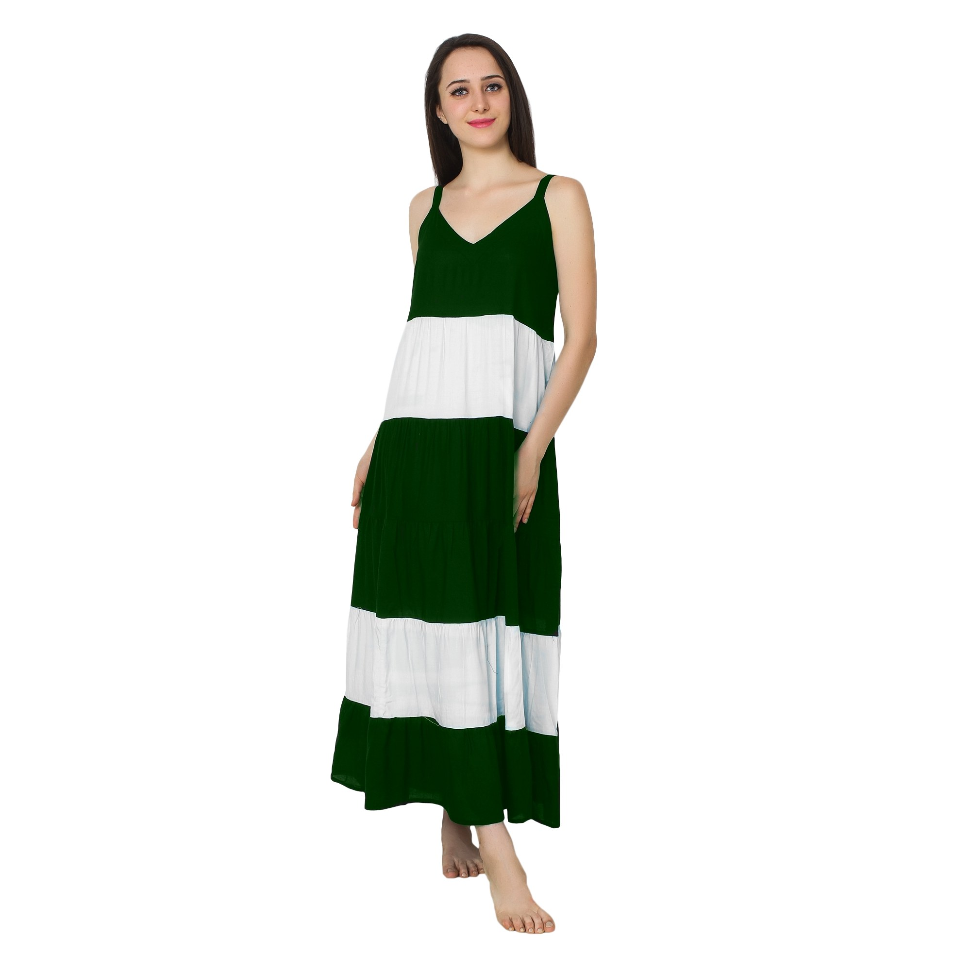 Spaghetti Strap Pleated Frilled Nighty Dress Gown in Bottle Green:White