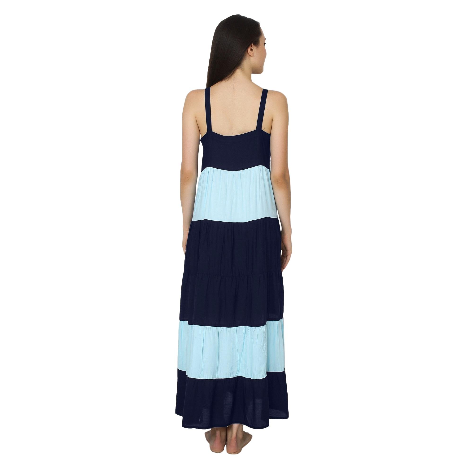 Spaghetti Strap Pleated Frilled Nighty Dress Gown in Dark Blue:Light Blue