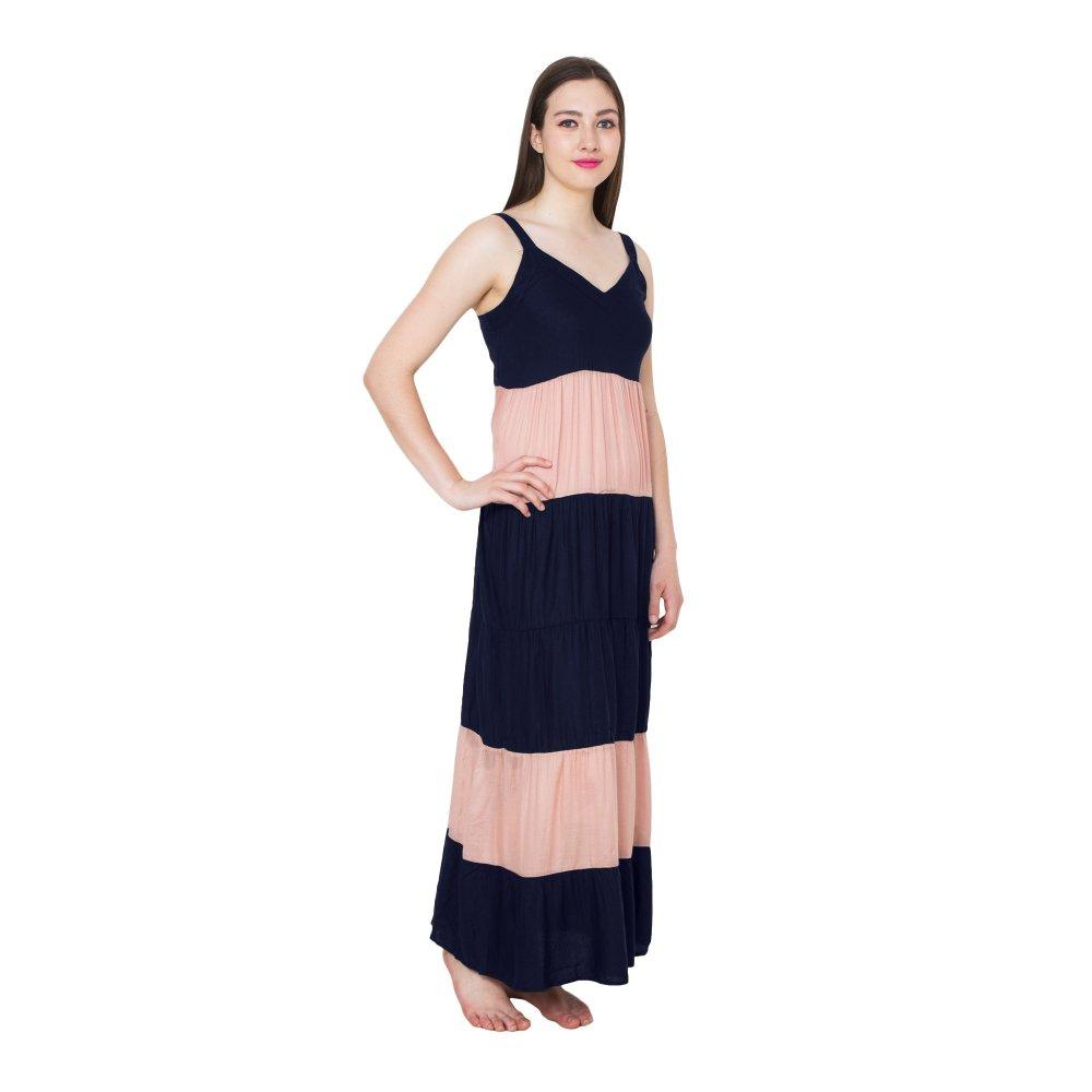 Spaghetti Strap Pleated Frilled Nighty Dress Gown in Dark Blue:Peach
