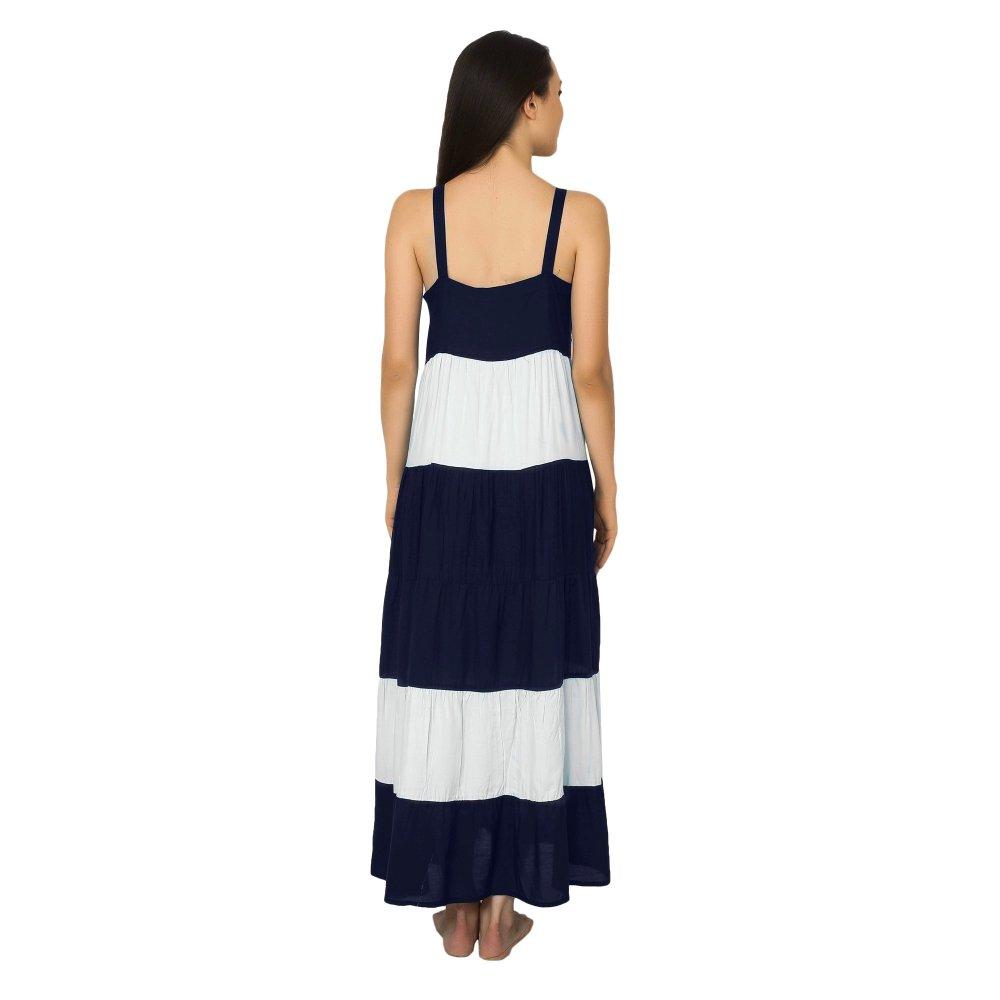 Spaghetti Strap Pleated Frilled Nighty Dress Gown in Dark Blue:White