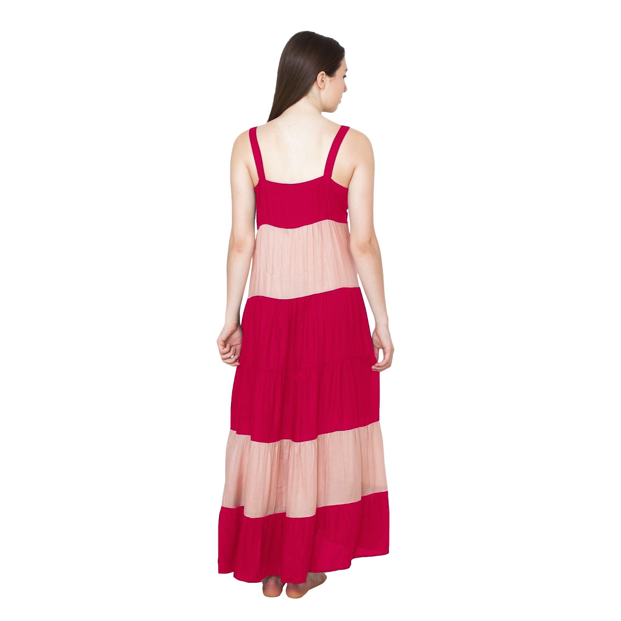 Spaghetti Strap Pleated Frilled Nighty Dress Gown in Fuchsia:Peach