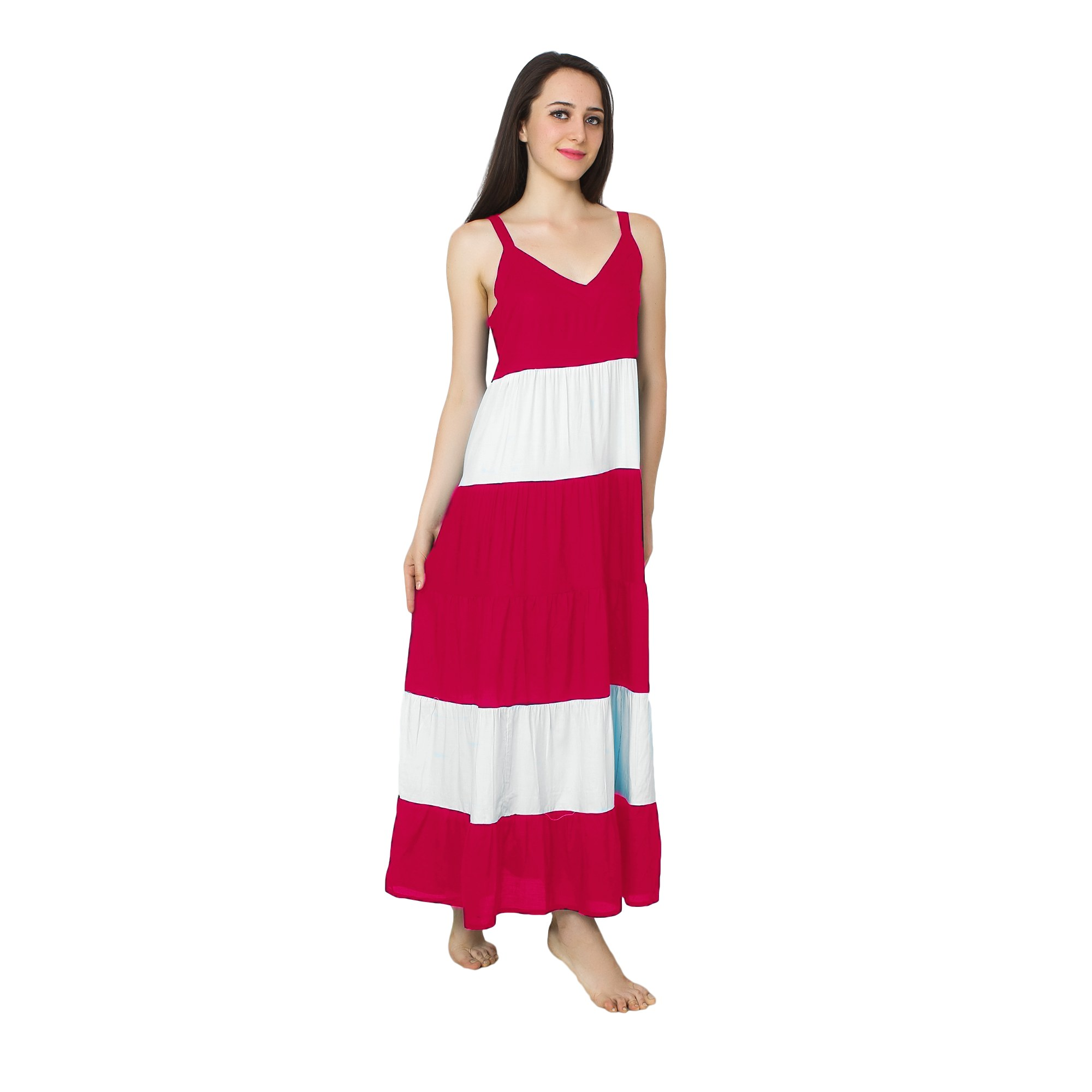 Spaghetti Strap Pleated Frilled Nighty Dress Gown in Fuchsia:White