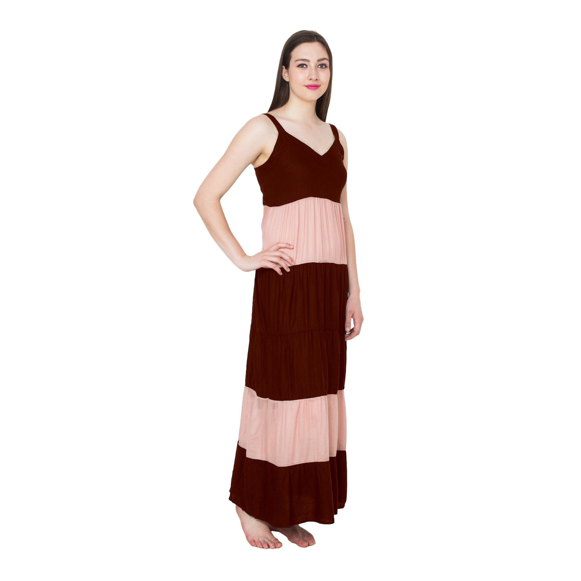 Spaghetti Strap Pleated Frilled Nighty Dress Gown in Maroon:Peach