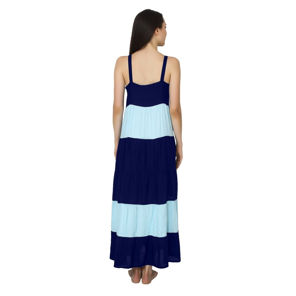 Spaghetti Strap Pleated Frilled Nighty Dress Gown in Royal Blue:Light Blue