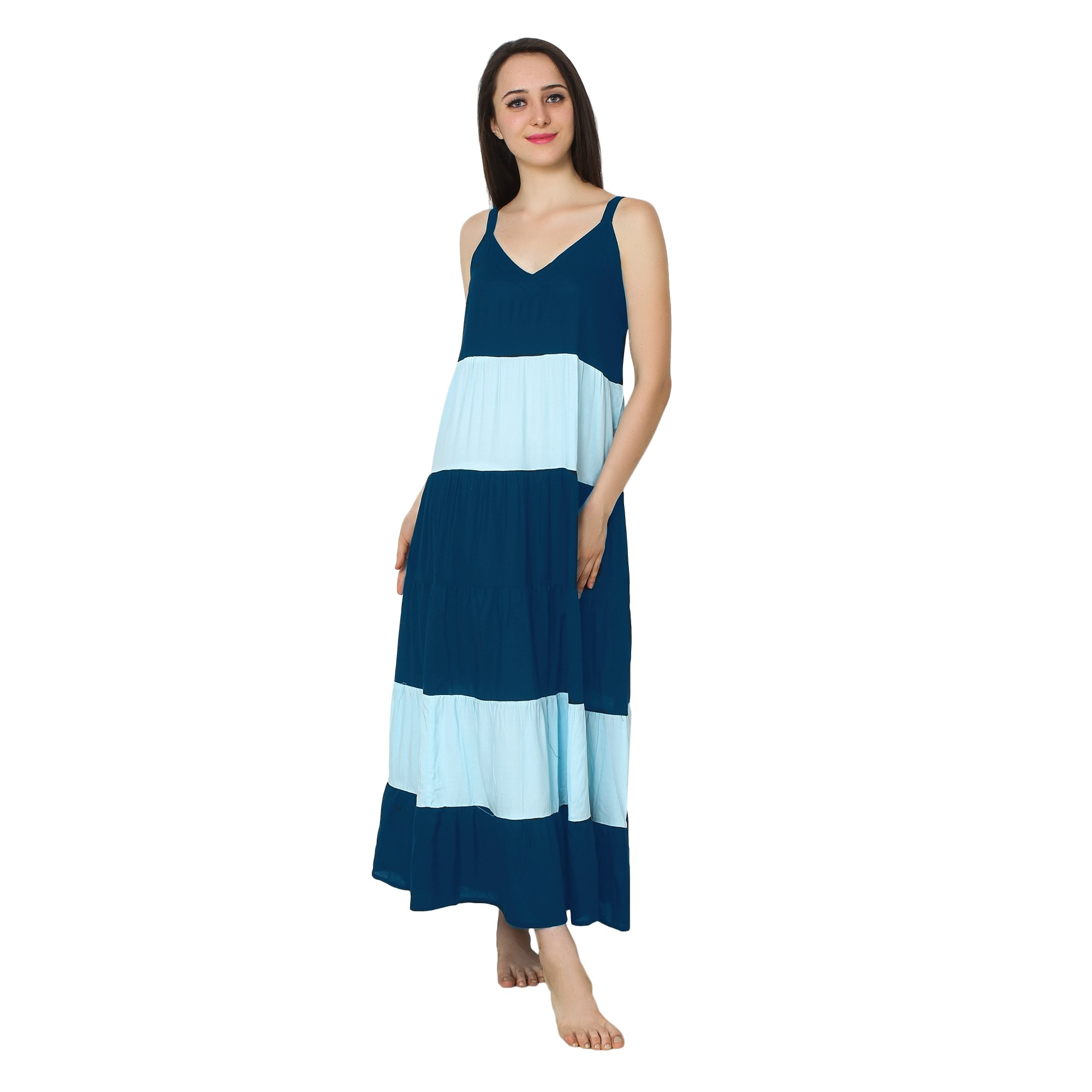 Spaghetti Strap Pleated Frilled Nighty Dress Gown in Sky Blue:Light Blue