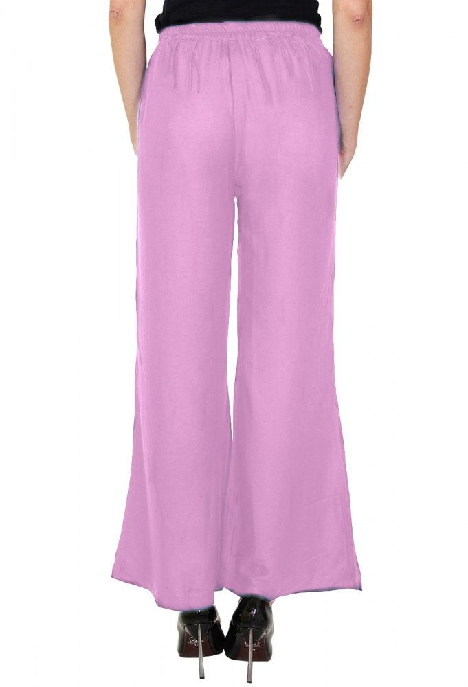 Straight Fit Bootcut Trousers in Baby Pink