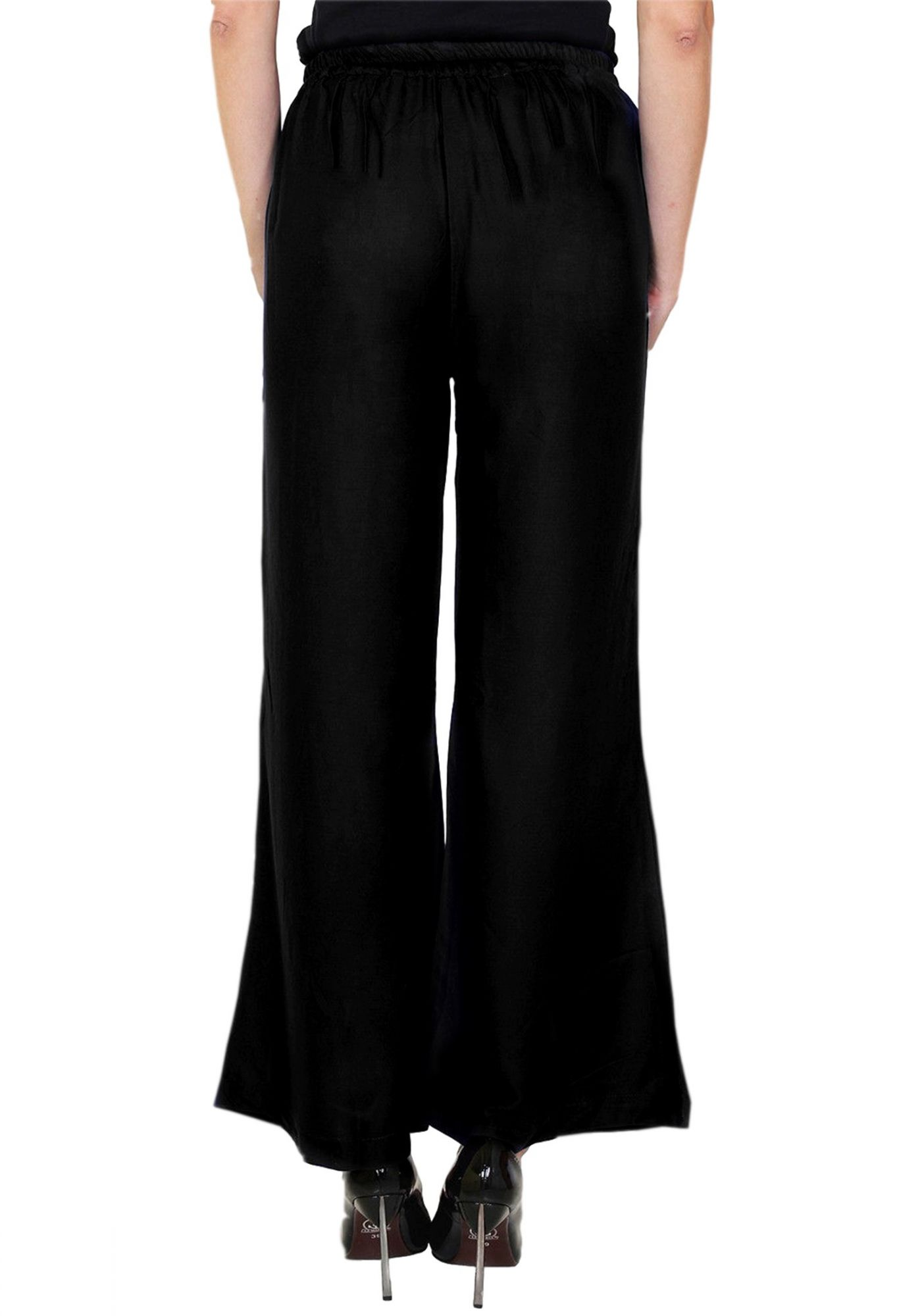 Straight Fit Bootcut Trousers in Black