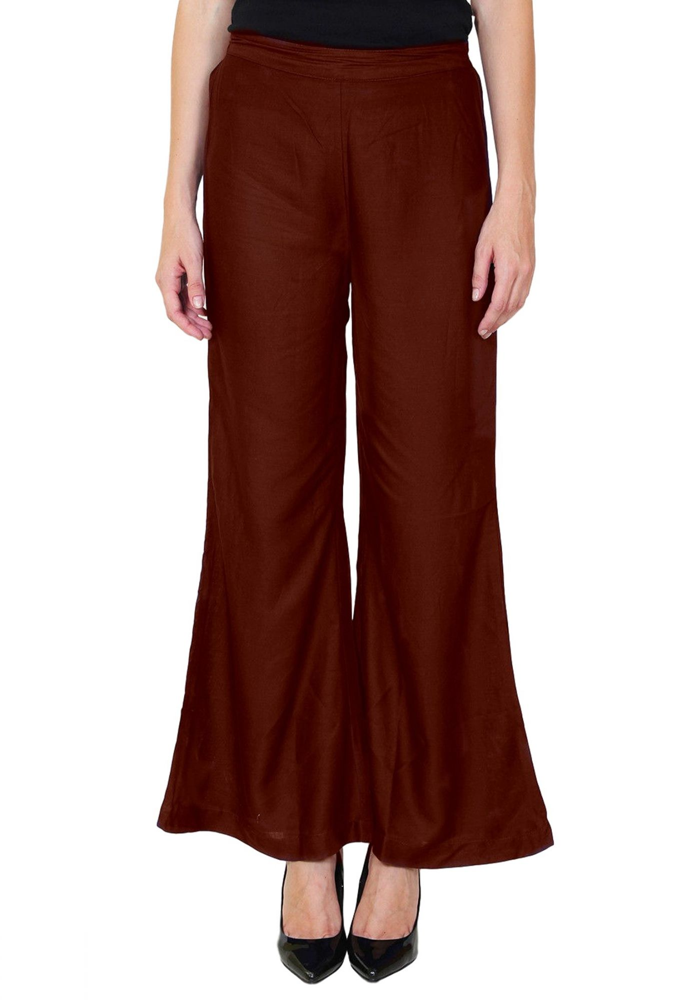 Straight Fit Bootcut Trousers in Maroon