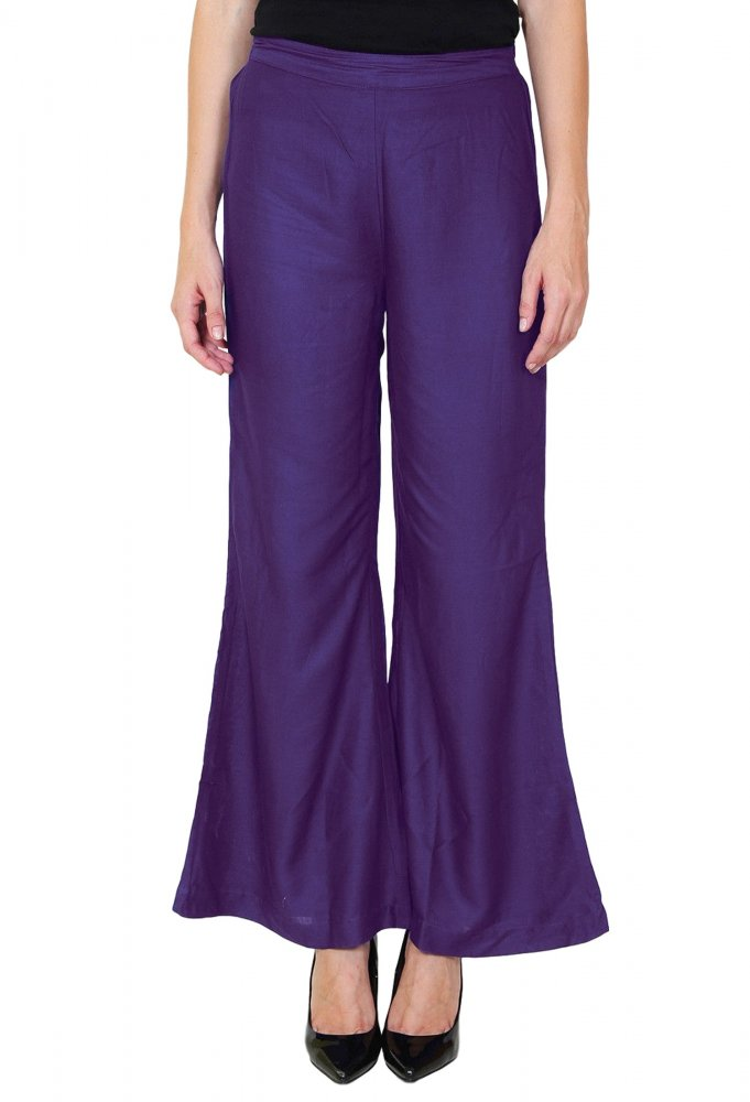 Straight Fit Bootcut Trousers in Purple