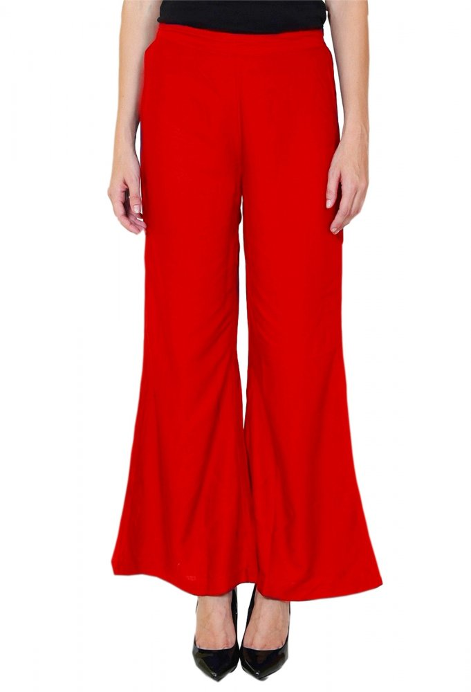 Straight Fit Bootcut Trousers in Red
