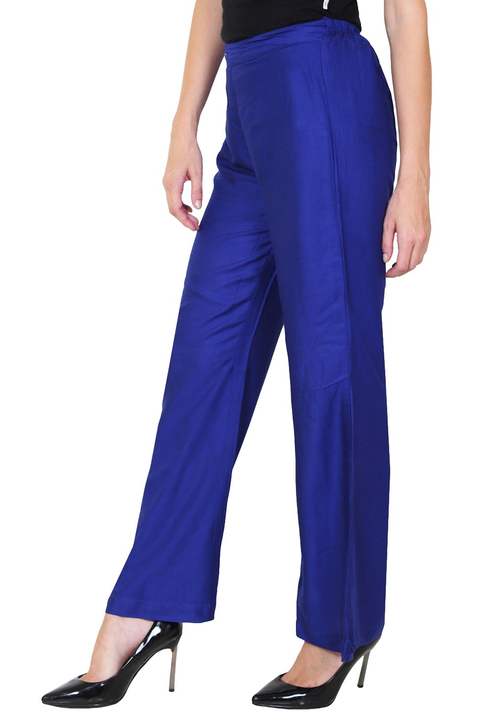 Straight Fit Bootcut Trousers in Royal Blue