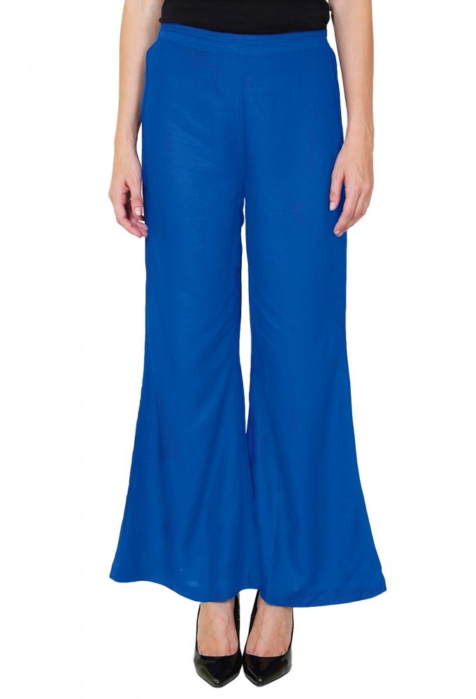 Straight Fit Bootcut Trousers in Turquoise Blue