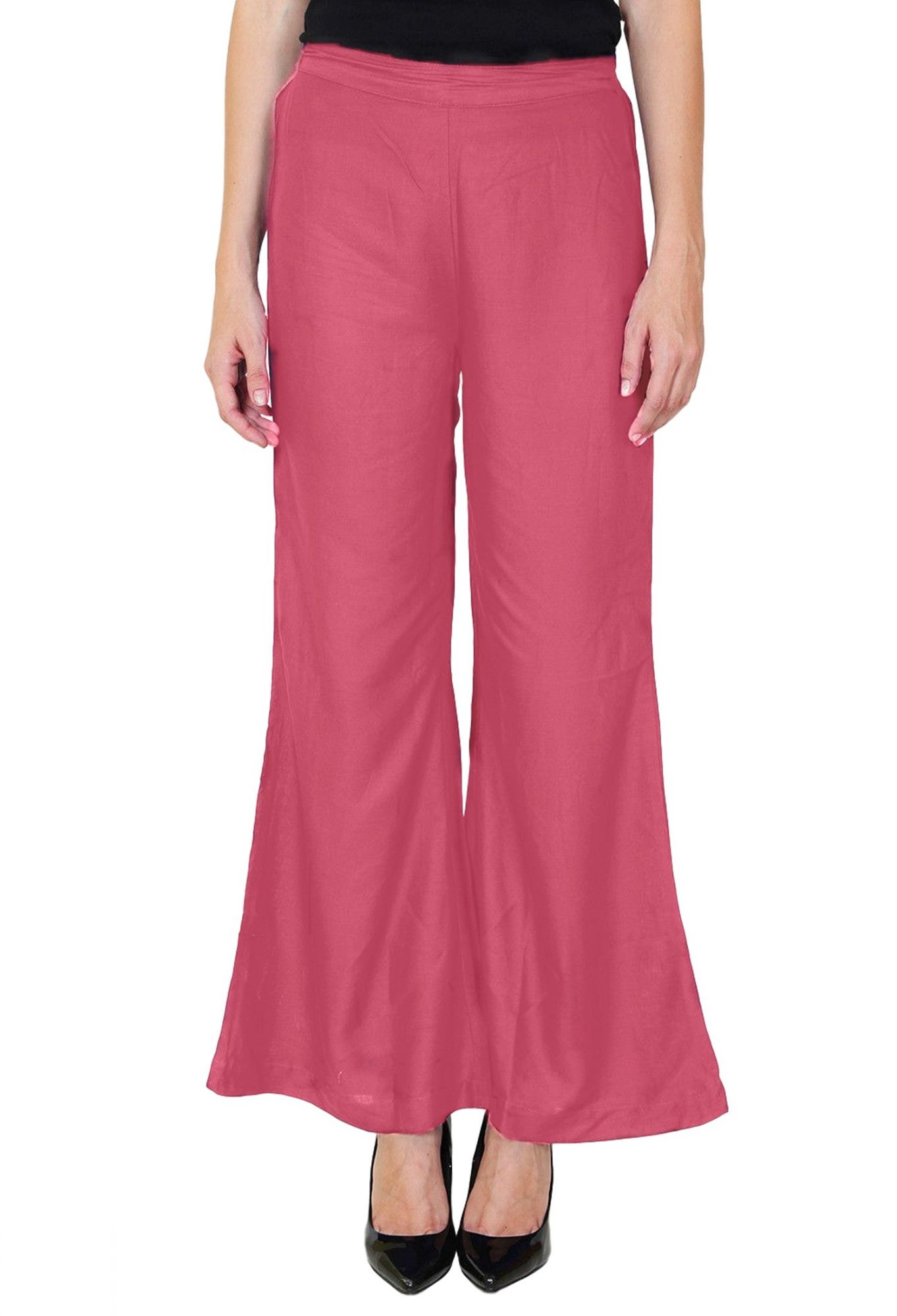 Straight Fit Bootcut Trousers in Vinyl Hot Pink
