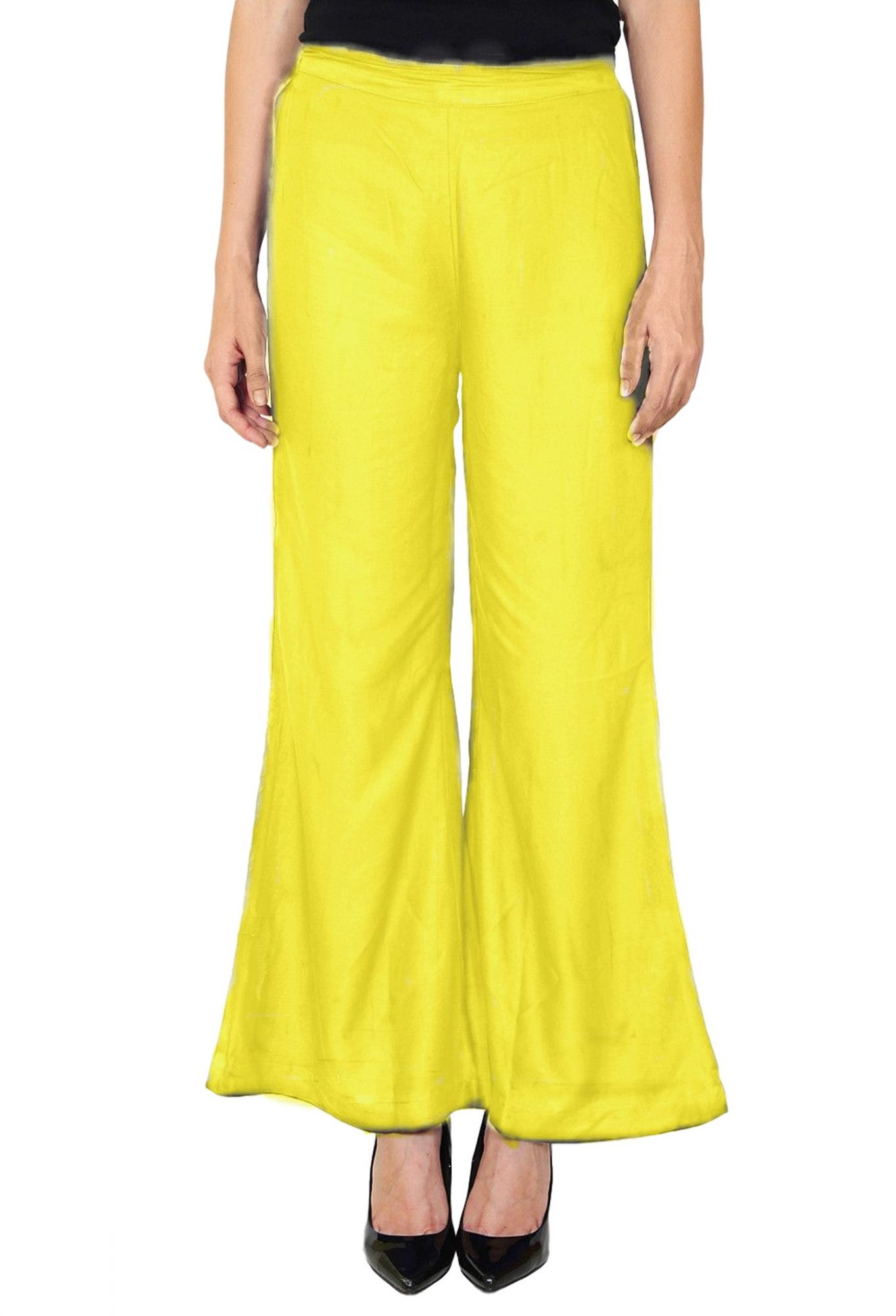 Straight Fit Bootcut Trousers in Yellow