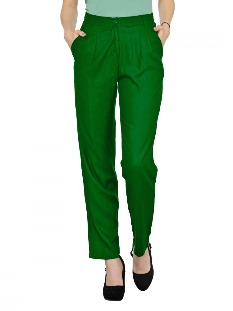 Straight Fit Formal Trousers in Bottle Green