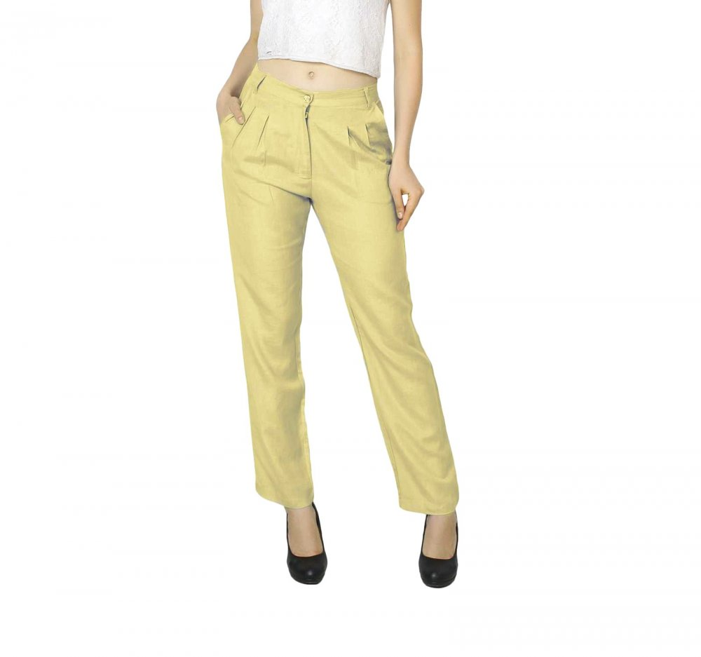 Straight Fit Formal Trousers in Gold