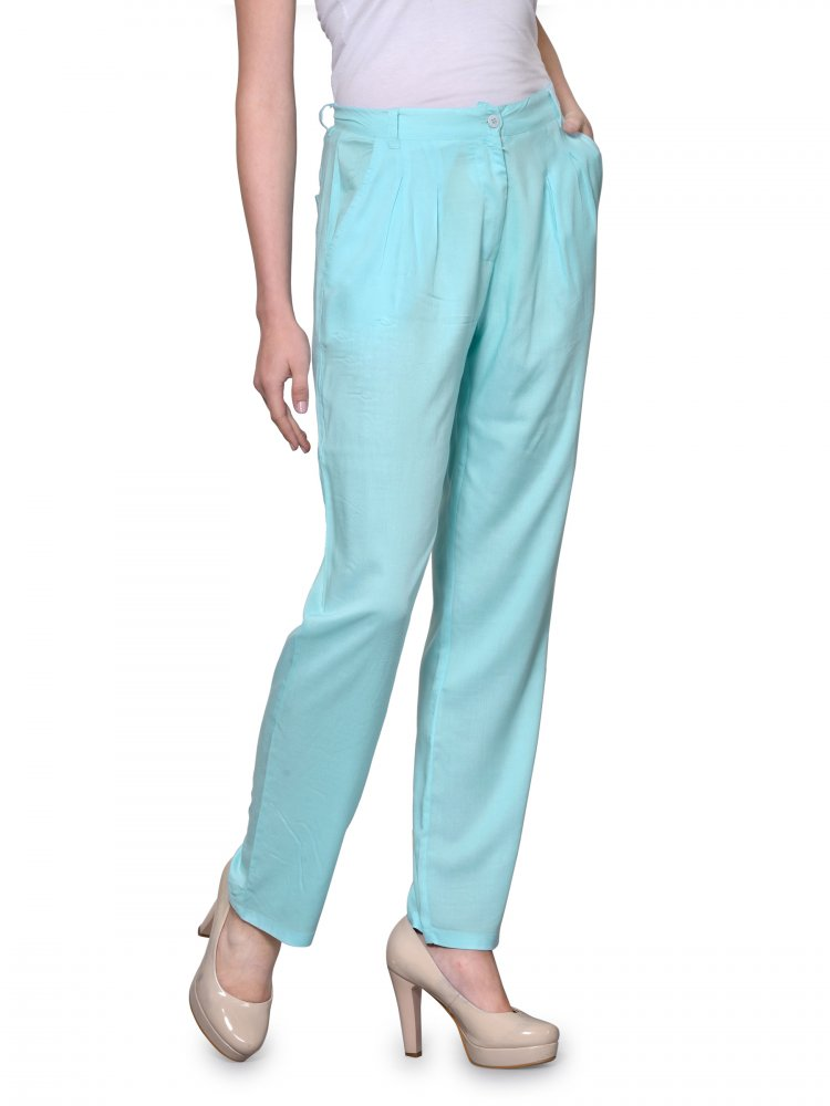 Straight Fit Formal Trousers in Light Blue