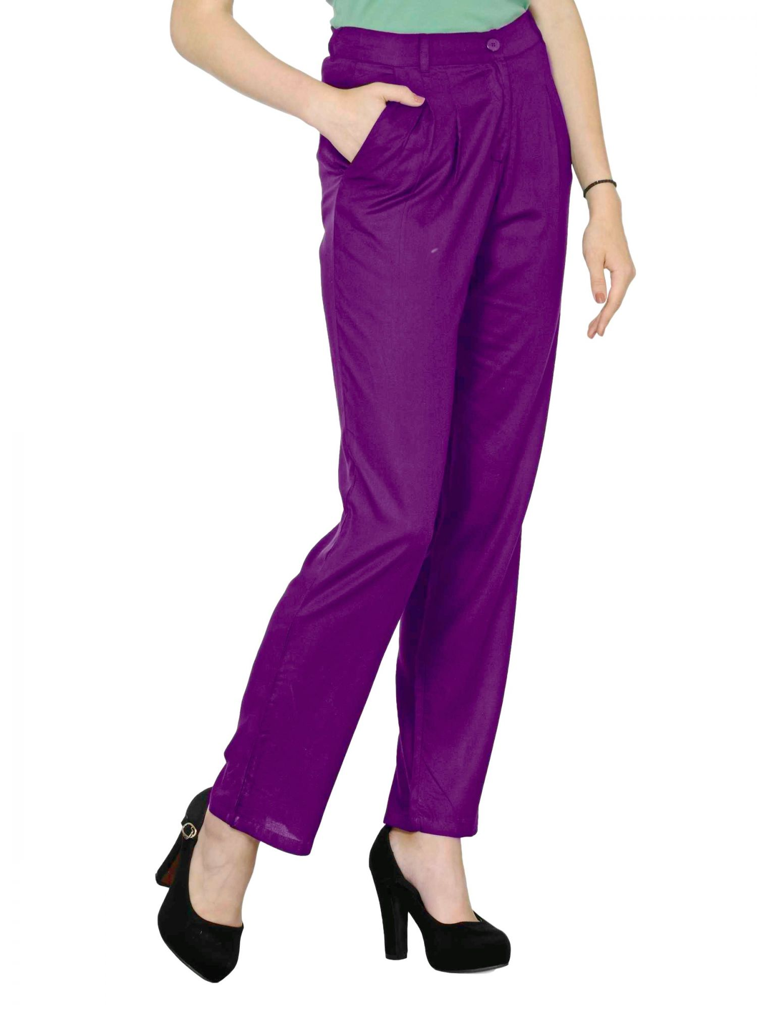 Straight Fit Formal Trousers in Purple