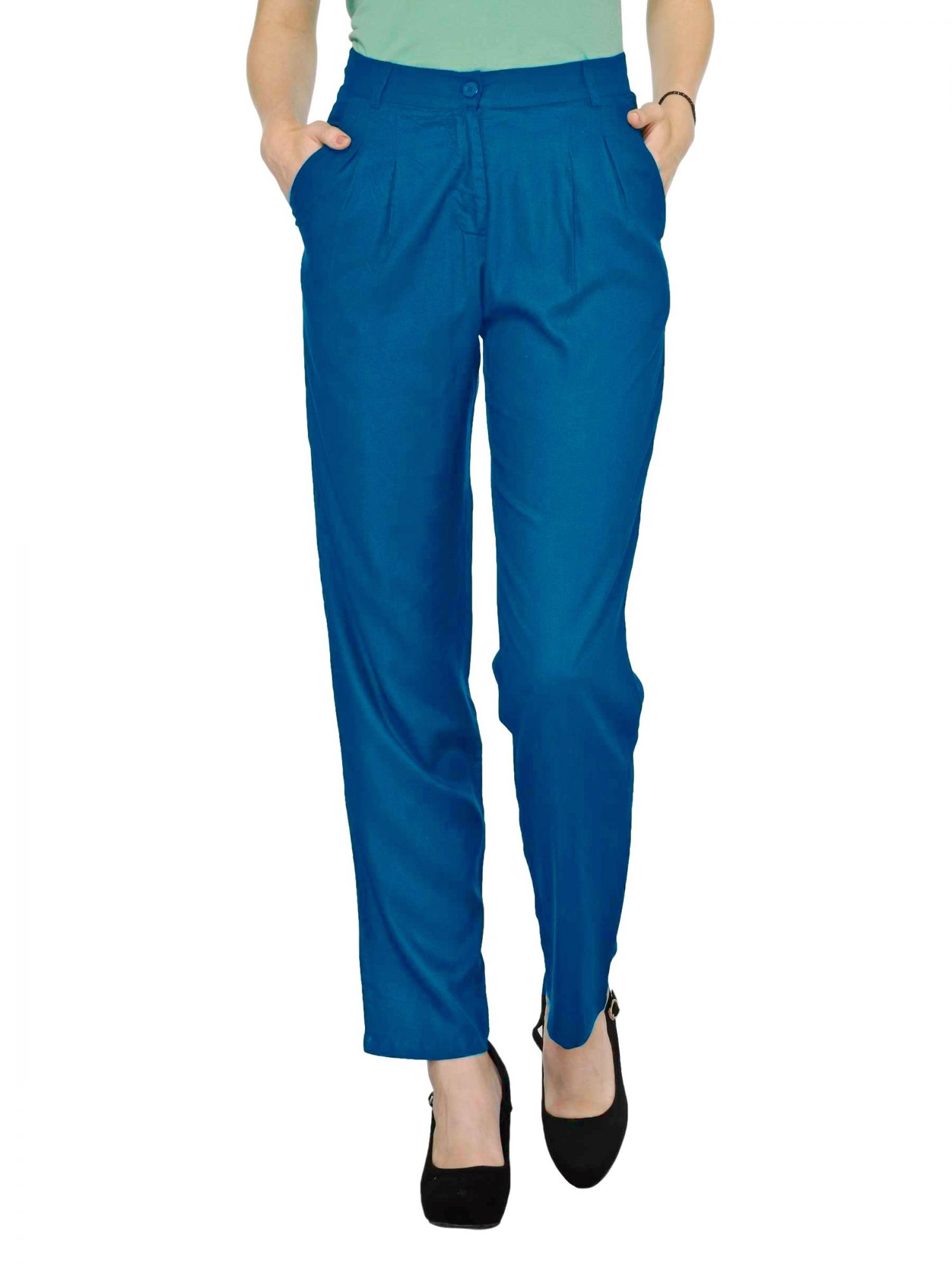 Straight Fit Formal Trousers in Sky Blue