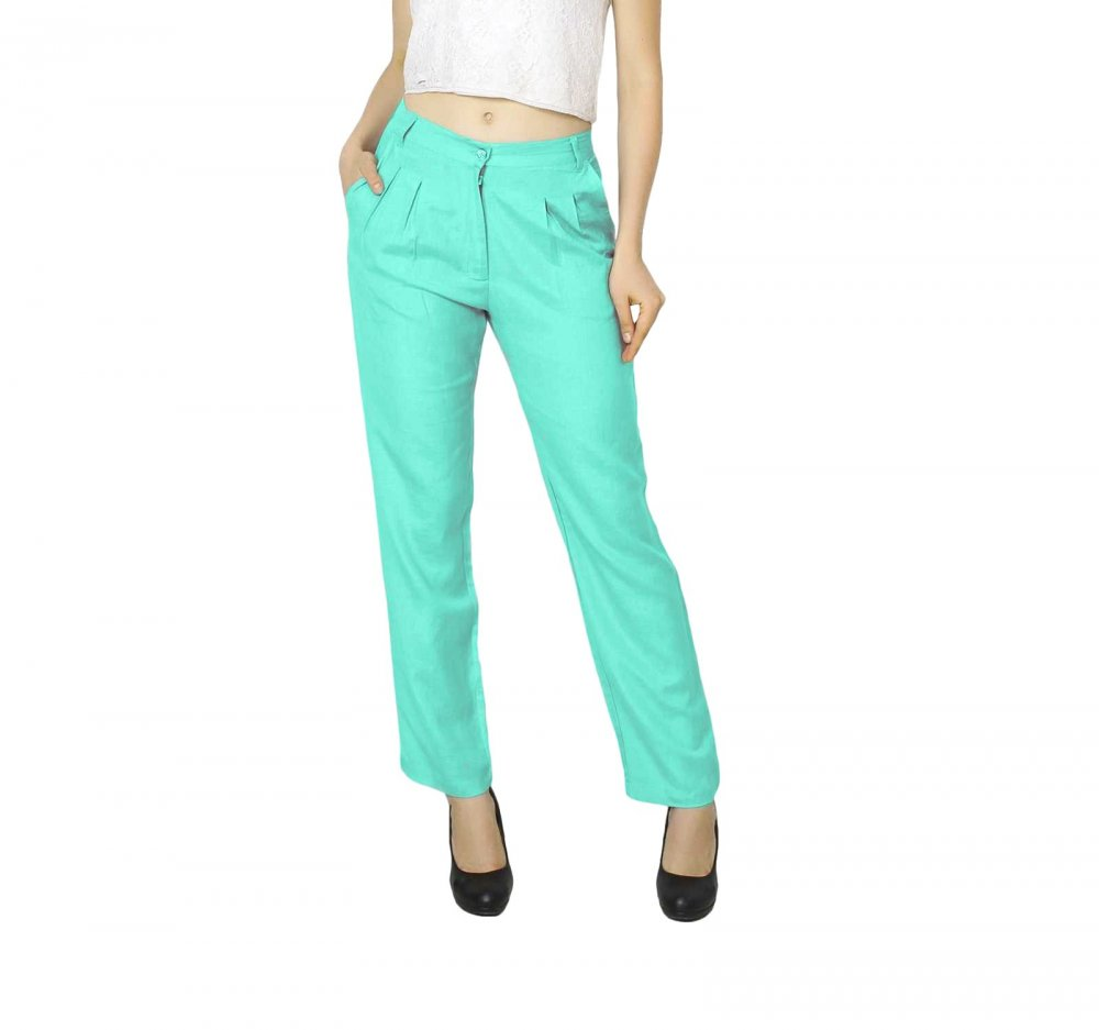 Straight Fit Formal Trousers in Teal Green