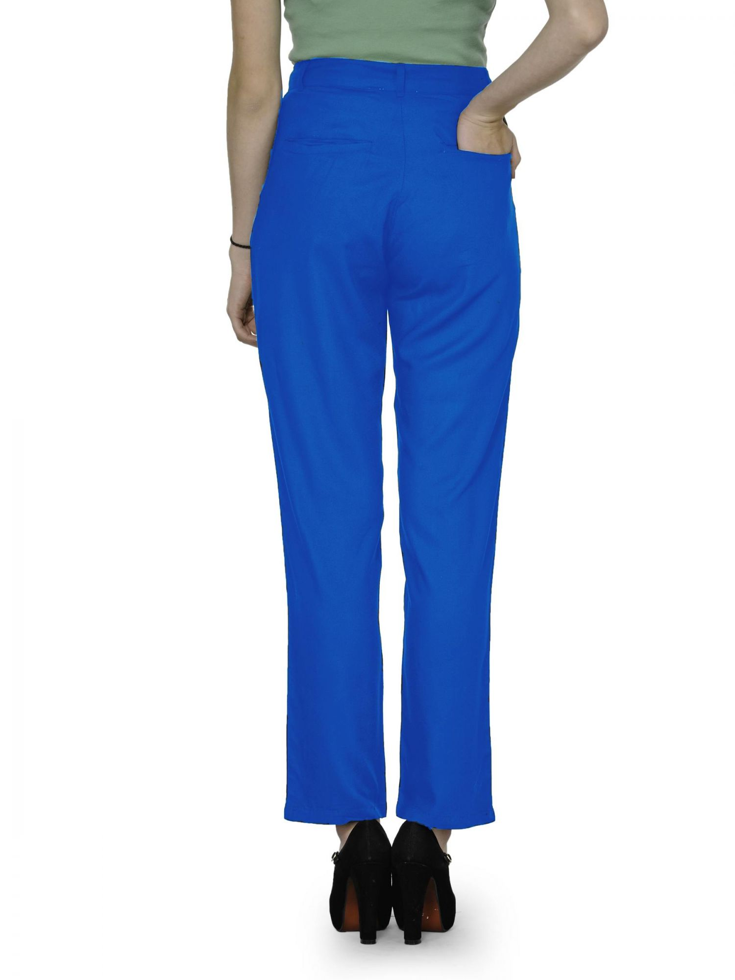 Straight Fit Formal Trousers in Turquoise Blue